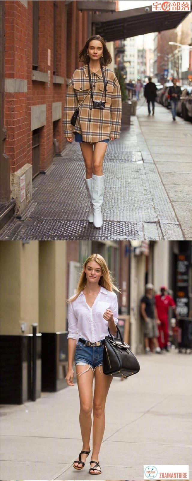 欧美街拍最为性感,ins风十足,深v领口十分迷人
